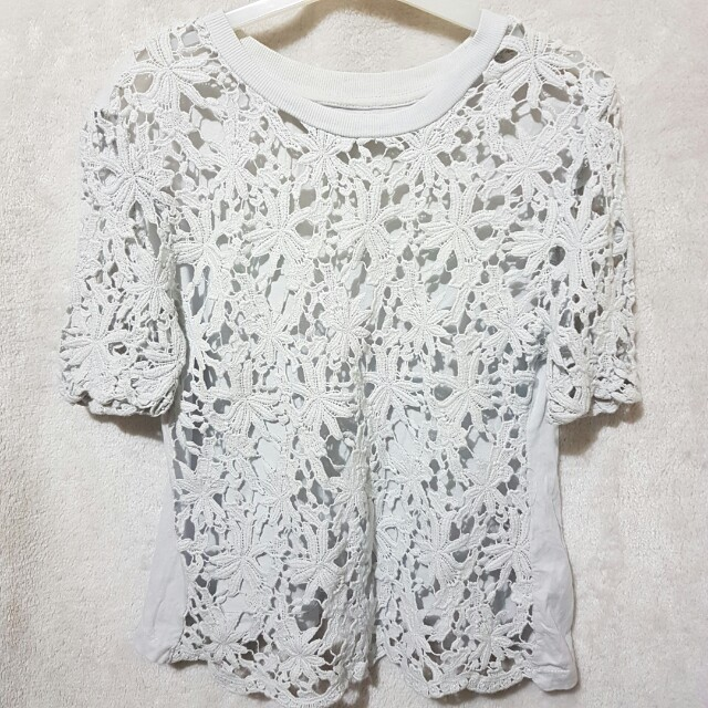 Zara powder blue lace top
