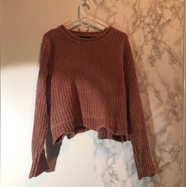 Zara velvet pink knit