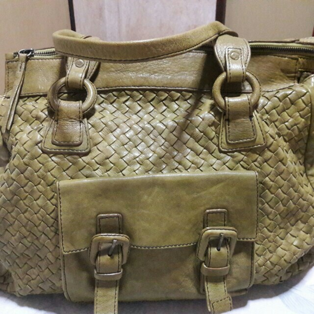 Zeden Italy Genuine Leather Woven Green Tote Bag