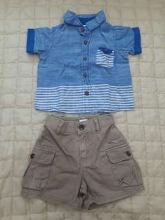 Polo and shorts terno for baby boy