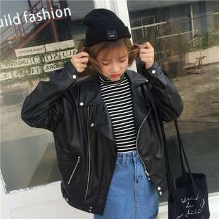 Spring Korean chic wild motorcycle leather coat BF wind coat PU leather jacket women's clothing