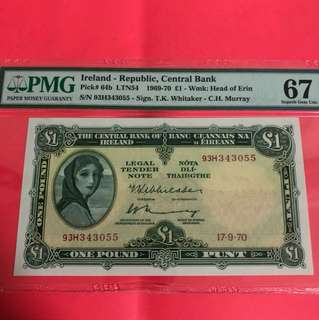 Ireland Lady Lavery 1 pound PMG 67 Superb GEM EPQ