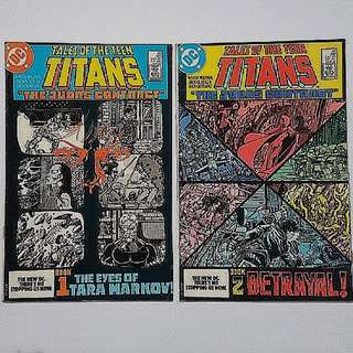 DC Comics Tales of the Teen Titans 42 and 43 Fine + Condition Judas Contract Part 1 and 2