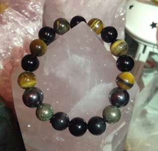 Protection Bracelet - Black obsidian, tiger's eye, magnetite, pyrite, black onyx