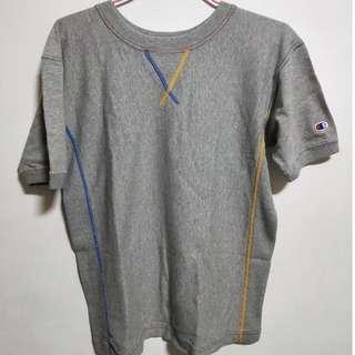 🚚 Champion灰色彩色縫線短T