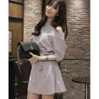 🆕[Instock] $10 D0012 Grey Off Shoulder dress