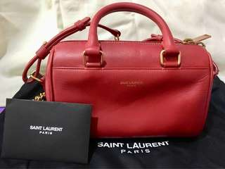 Saint Laurent YSL CLASSIC DUFFLE TOY BAG RED LEATHER