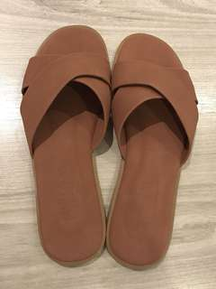 Nude brown slip on sandals