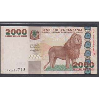 "(BN 0079) 2003 Tanzania 2000 Shilings, ""Lion Note"" - UNC"