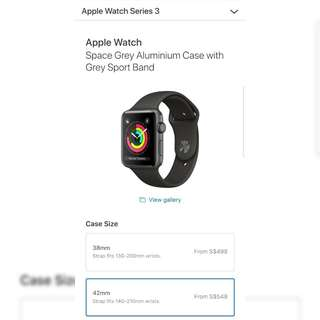 Apple Watch Series 3 Space Grey Aluminium Case with Grey Sport Band (GPS)