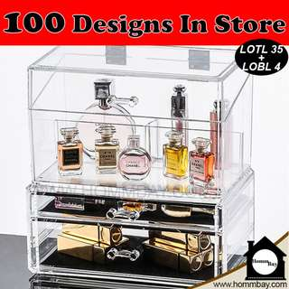 Clear Acrylic Transparent Make Up Makeup Cosmetic Jewellery Jewelry Organiser Organizer Drawer Storage Box Holder (LOTL35 + LOBL4)