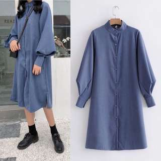 2018 Spring Simple Collar Puff Sleeve Style Shirt Skirt Midi Dress Tide