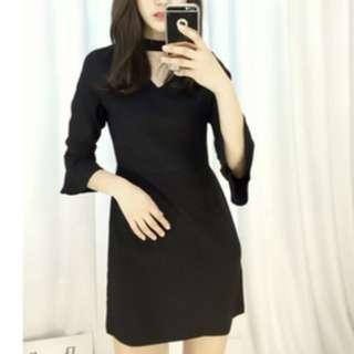 Black bell-sleeved dress
