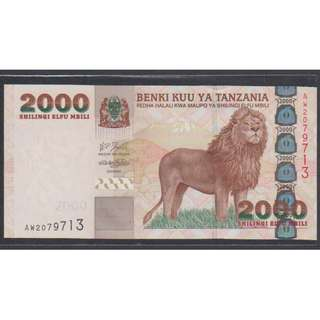 "(BN 0079-1) 2003 Tanzania 2000 Shilings, ""Lion Note"" - UNC"