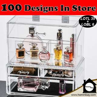 Clear Acrylic Transparent Make Up Makeup Cosmetic Jewellery Jewelry Organiser Organizer Drawer Storage Box Holder (LOTL35 + LOBL6)
