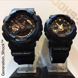 COUPLE💝SET CASIO BABYG GSHOCK DIVER SPORTS WATCH : 1-YEAR OFFICIAL WARRANTY: 100% Originally Authentic BABY-G-SHOCK Resistant In Deep Black & Rose Gold in Best Gift for Most Hardcore Rough Users & Unisex : BA-110GA-1ADR & GA-110RG-1ADR / BA-110 / GA-110