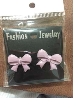 Polymer Pink Ribbon Stud Earrings
