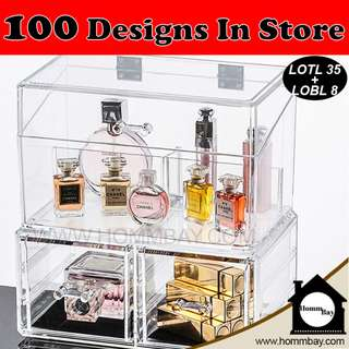 Clear Acrylic Transparent Make Up Makeup Cosmetic Jewellery Jewelry Organiser Organizer Drawer Storage Box Holder (LOTL35 + LOBL8)