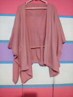Outer knit oversise pink