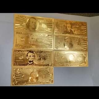 24k金箔纪念钞 一套美金纸币 双面货币工艺礼品 美国钱币收藏装饰