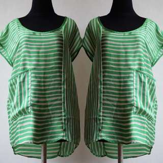 Top Zara Green Stripe