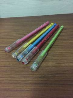 Pens five colours with glitter