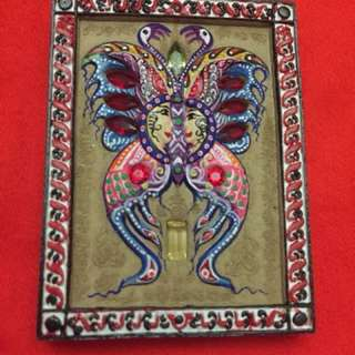 Butterfly Amulet Block B with 8 Takrut and Gems strongly blessed by Kruba Krissana. Free LP Pern Wealth Tiger bracelet