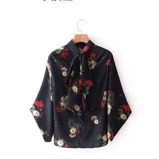 🔥2018 show neckline with knot printing blouse