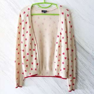 🚚 topshop heart patterned cream cardigan