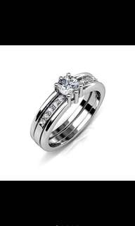 Double Ring -White Gold From Swarovski