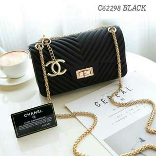 Chanel Chevron Jelly Sling Bag Black