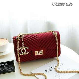 Chanel Chevron Jelly Sling Bag Red Color