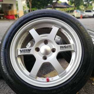 Te37 thailand 15 inch sports rim vios tyre 70%. Gosok kuali guna garfu, boss ini rim confirm paduuuuu!!!