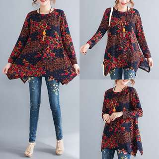 Plus Size 2018 Loose A Word Covering Floral Floral Irregular Hem Long Sleeve T-shirt