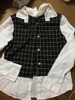 Korean grid collar long sleeve top