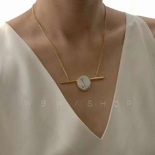 white marble gold detail bar necklace