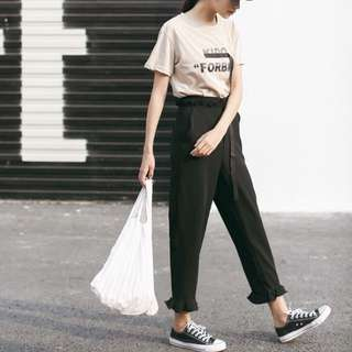 BLACK frill flutter casual long trousers pants