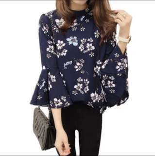 (PO)Floral chiffon women TOP