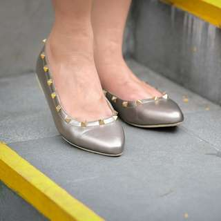 Valentino Rockstud Pointed Flat Shoes