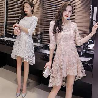 2018 new female lace dress fan clothes summer clothes