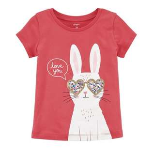 12M Carters Red Short Sleeve Bunny Tee