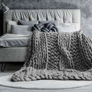 Cable Stitch design Chunky Merino Wool Knit Blanket/Throw