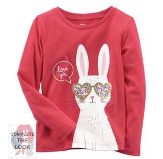 12M / 18M Carters Red Long Sleeve Bunny Tee