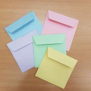13cm x 13cm Square Sized Colour Envelopes