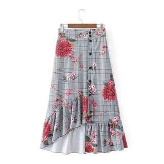 2018 Spring-Summer Europe Single Breasted Skirt Midi Skirt