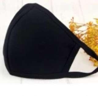 Plain Fabric Black Mask BN