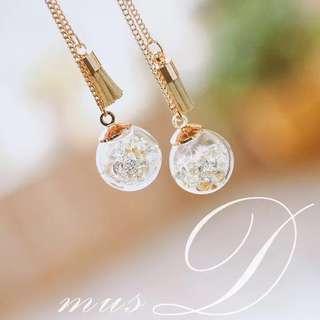 Korea crystal ball earrings