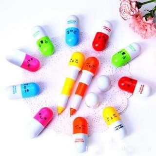 8支包郵㊣文具用品 药丸原子筆 顏色隨機 $20/2支減至$20/4支