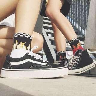 [PO] harajuku checkered fire flame street high socks