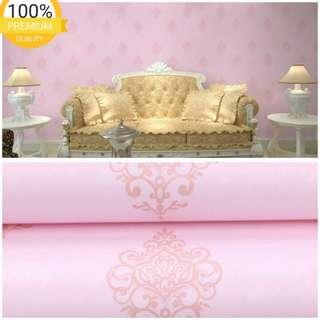 Grosir murah wallpaper sticker dinding pink batik emas